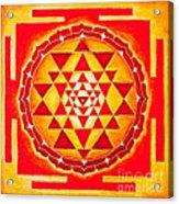 Sri Yantra For Meditation Painted Acrylic Print