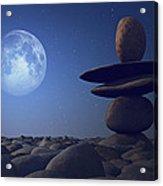Stacked Stones In Moonlight Acrylic Print by Aleksey Tugolukov