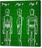 Star Wars C-3po Patent 1979 - Green Acrylic Print