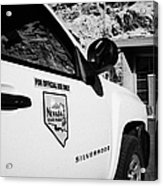 State Park Ranger Vehicles At The Valley Of Fire State Park Nevada Usa Acrylic Print