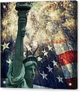 Statue Of Liberty And Fireworks Acrylic Print