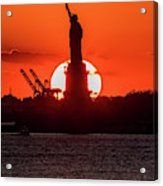Statue Of Liberty Sunset. Nyc Harbor Acrylic Print