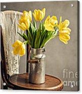 Still Life With Yellow Tulips Acrylic Print