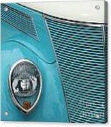 Street Car  Blue Grill With Headlight Acrylic Print