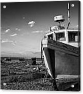 Stunning Black And White Image Of Abandoned Boat On Shingle Beac Acrylic Print