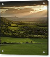 Stunning Summer Sunset Over Countryside Escarpment Landscape Acrylic Print