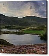 Stunning Sunrise Panorama Landscape Of Heather With Mountain Lak Acrylic Print