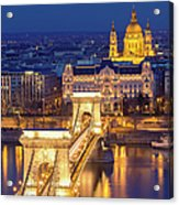 The Chain Bridge In Budapest Acrylic Print