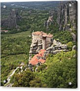 The Holy Monastery Of Rousanou Meteora Greece  Acrylic Print