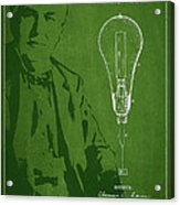 Thomas Edison Incandescent Lamp Patent Drawing From 1890 Acrylic Print