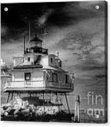 Thomas Point Shoal Lighthouse Black And White Acrylic Print