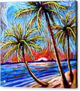 Three Palms On The Beach Acrylic Print