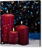 Three Red Candles In Snow  Acrylic Print