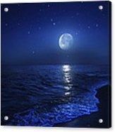 Tranquil Ocean At Night Against Starry Acrylic Print