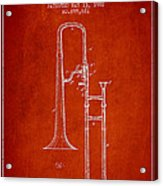 Trombone Patent From 1902 - Red Acrylic Print