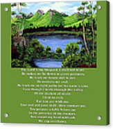 Twin Ponds And 23 Psalm On Green Acrylic Print