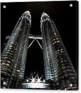 Twin Towers Petronas Kuala Lumpur Malaysia At Night Acrylic Print