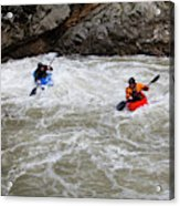 Two Kayakers Carry Their Boats Acrylic Print