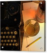 Typewriter And Whiskey Acrylic Print