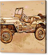 Us Army Jeep In World War 2 - Stylised Modern Drawing Art Sketch Acrylic Print