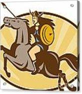 Valkyrie Riding Horse Retro Acrylic Print