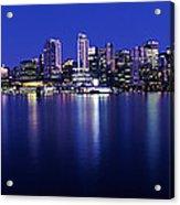 Vancouver Skyline At Night, British Acrylic Print