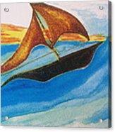 Viking Sailboat Acrylic Print by Debbie Nester