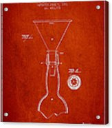 Vintage Bottle Neck Patent From 1891 Acrylic Print