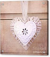 Vintage Hearts With Texture Acrylic Print