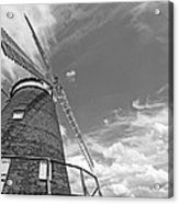 Windmill In The Sky In Black And White Acrylic Print
