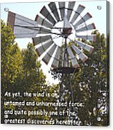 Windmill With Lincoln Quote Acrylic Print