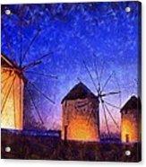 Windmills In Mykonos Island Acrylic Print