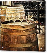 Wine  Glasses And Barrels Acrylic Print
