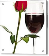 Wine With Red Rose Acrylic Print