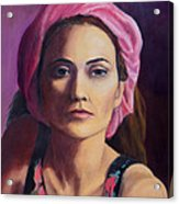 Woman In A Pink Turban Acrylic Print