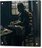 Woman Sewing Acrylic Print