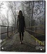 Woman Walking On A Bridge Acrylic Print