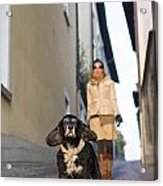 Woman Walking With Her Dog Acrylic Print