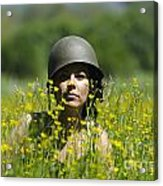 Woman With Military Helmet Acrylic Print