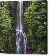 Woman With Umbrella At Wailua Falls Acrylic Print