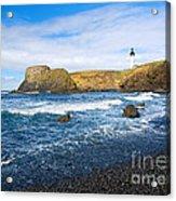 Yaquina Lighthouse On Top Of Rocky Beach Acrylic Print