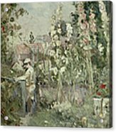 Young Boy In The Hollyhocks Acrylic Print