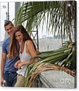 Young Couple Palm Tree Acrylic Print
