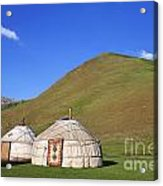 Yurts In The Tash Rabat Valley Of Kyrgyzstan  Acrylic Print