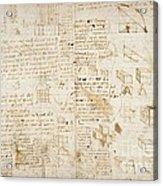 Notes By Leonardo Da Vinci, Codex Arundel Acrylic Print