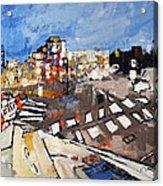 2013 015 Crosswalk Silver Orange And Blue Arlington Virginia Acrylic Print