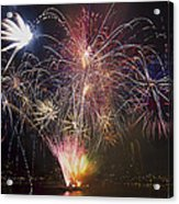 2013 Independence Day Fireworks Display On Portland Oregon Water Acrylic Print