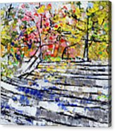2014 19 Silver And Blue Stairs To Pink And Yellow Woods Srpsko Sarajevo Acrylic Print