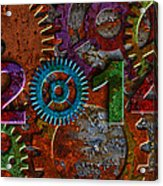 2014 Rusty Gear On Grunge Texture Background Acrylic Print