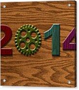 2014 Wooden Gear On Wood Grain Texture Background Acrylic Print